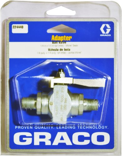 Graco 224449 1/4-Inch by 1/4-Inch Adapter Straight Ball Valve for Airless Paint Spray Guns ()