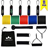 Dumsamker Resistance Bands Set - Include 5 Stackable Workout Bands with Handles, Door Anchor, Ankle Straps, Workout Guide and Carry Bag - 100% Life Time Guarantee