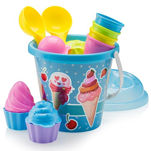 "Top Race Beach Toys, Sand Toys, 16 Piece Ice Cream Mold Set for Kids 3-10 with Large 9"" Beach Toy Bucket Pail for Kids and Toddlers (Blue)"