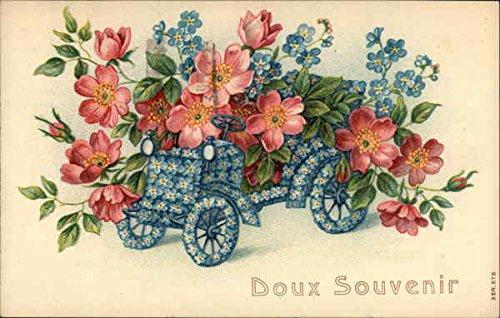 doux-souvenir-flowers-and-little-car-figures-made-of-flowers-original-vintage-postcard