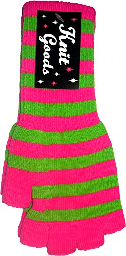 Pink and Green Striped Fingerless Texting Gloves - Striped Glove