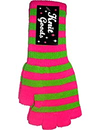 Pink & Green Striped Fingerless Texting Gloves