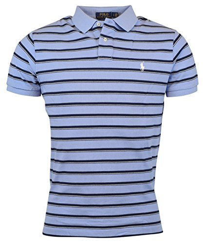 Polo Ralph Lauren Mens Custom Fit Striped Polo Shirt (Blue, X-Large