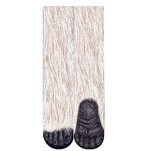 Unisex Novelty Big Kids Animal Paw Hoof 3D Print Paws Crew Socks for Boys Girls - Sublimation Printing Chimpanzees]()
