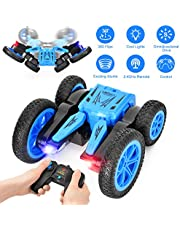 Dkinghome Remote Control Car,RC Car Double Sided Rotating Tumbling Transformation 360 Degree Flips with Radio Controlled,Prefect car toys for kids (Blue)