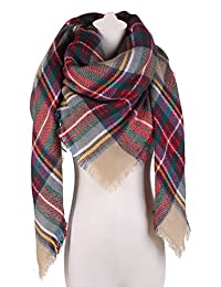 Large Plaid Blanket Scarf Square Tassel Long Scarf Wrap Shawl for Women