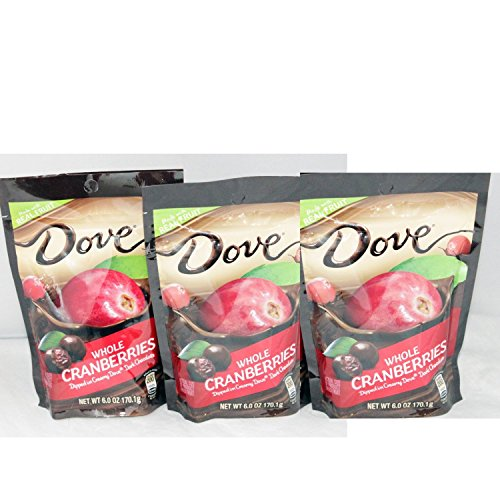 Dove Whole Dried Cranberries 3 PACK - Dipped in Creamy Dove Dark Chocolate: 3 Bags of 6 Oz - Dark Cranberries Chocolate