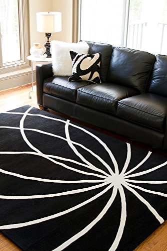 Forum Square Rug - Surya Forum FM-7072 Contemporary Hand Tufted 100% Wool Coal Black 8' Square Abstract Area Rug