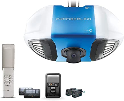 Chamberlain B4545T Smart Garage Door Opener w/Built in HD Camera, Two way audio - myQ Smartphone Control- Ultra Quiet, Strong Belt Drive and MED Lifting Power, Wireless Keypad Incl, Blue