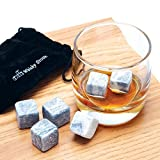 SAVFY® 9 PCS Whisky Chilling Rocks Ice Stones Drinks Cooler Cubes Whiskey Scotch on the Rocks Granite with a Muslin Pouch