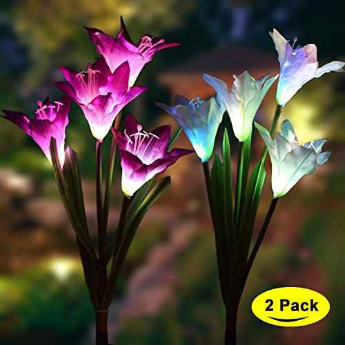 Solar Garden Decoration Lily Light,2 Pack Outdoor Solar Stake Flower Lights with 8 LED Lily Flower Multi-colored Changing Solar Decoration Light for Yard, Backyard, Patio