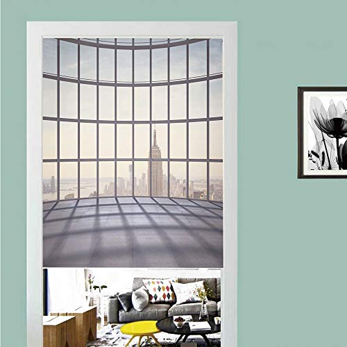 3D printed Magic Stickers Door Curtain,Modern Decor,Big Office Windows Lattice Square Lines Apartment Urban City Skyscapers,Pale Purple Beige ,Privacy Protect for Kitchen,Bathroom,Bedroom(1 Panel)