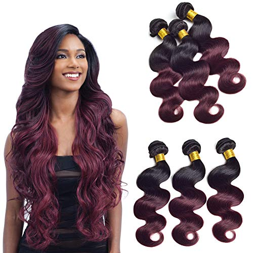 Brazillian Silky Body Wave Ombre Human Hair Bundles Double Weft 2 Tone T1b/99j Black To Burgundy Wine Red Sew In Hair Extensions Virgin Human Hair 100g/Pcs (20 22 24Inch)