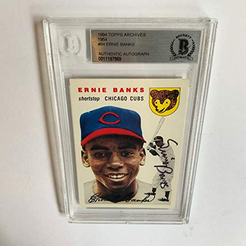 1954 Topps Ernie Banks Signed Autographed RP Rookie Baseball Card RC Beckett COA