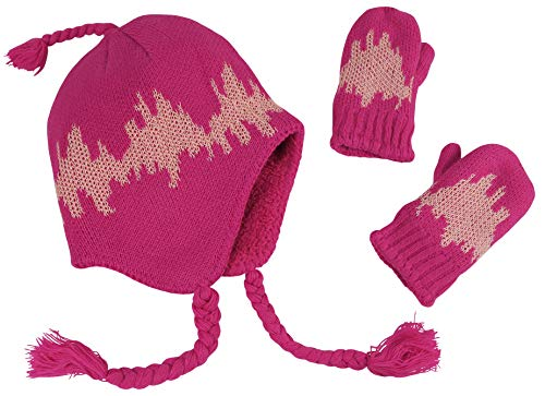 N'Ice Caps Little Girls and Baby Soft Sherpa Lined Micro Fleece Pilot Hat and Mitten Set (Fuchsia/Pink Knit - Glows in Dark, 2-3 Years)