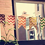 3.4M Length/21 Flags Chevron Natural Hessian Burlap Banner Wedding Party Decorations Bunting Banner