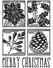 Darice Embossing Folder Merry Christmas Square Collage Emobssing
