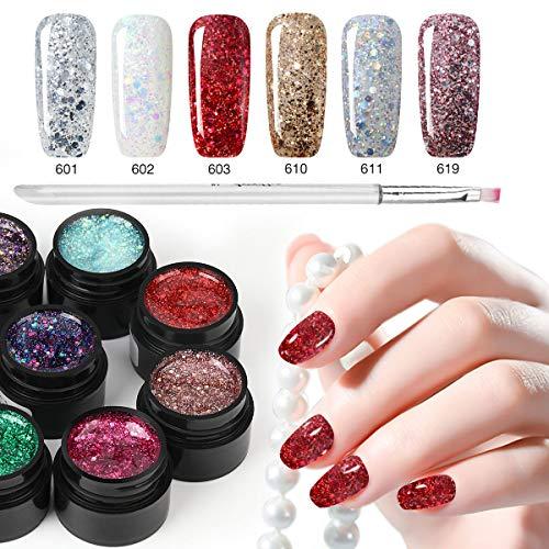 - 6 Color Glitter Nail Polish+ Painting Pen, Saviland Soak off Diamond Gel Nail Varnish Set