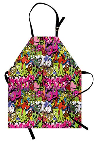 (Ambesonne Urban Graffiti Apron, Arrow Pierced Bubbly Hearts and Skull Detailed Sharp Edged Shapes Street Art, Unisex Kitchen Bib Apron with Adjustable Neck for Cooking Baking Gardening, Multicolor)