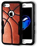 MyTurtle Shockproof Hybrid 3Layer Hard Shell Cover for iPhone 7 iPhone 8 with [9H Tempered Glass Protector] [2-in-1] Full Body Protection Modern Slim Hard Bumper Case (Basketball)