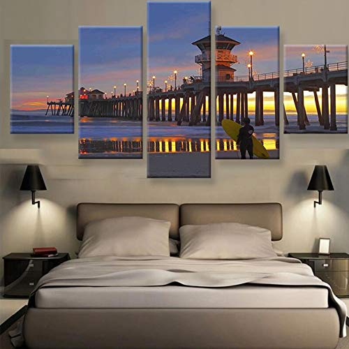 kkxdp 5 Piece Canvas Painting Huntington Beach Pier Sunset Surfers View Cuadros Landscape Canvas Wall Art Home Decor for Living Room-30x40 30x60 30x80cm-Framed