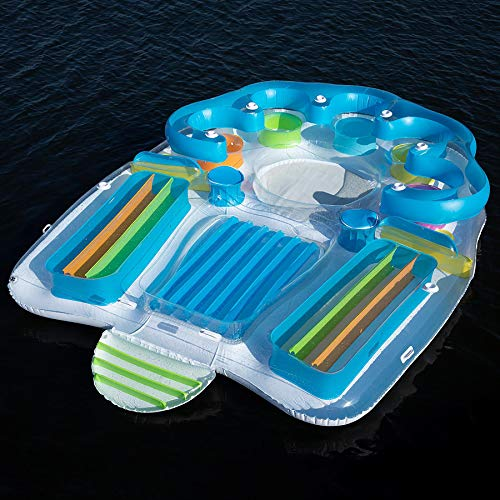 Tropical Tahiti Floating Island Inflatable Raft 7 Person! Built-in Inflatable Bench Seat with Backrests and Cooler! Inflatable Island with 2 Sun Tanning Decks! Perfect for Relaxation & Recreation!