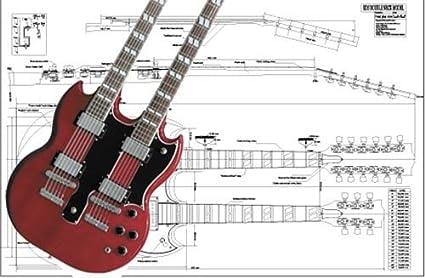 Amazon.com: Plan of Gibson EDS Double-neck Electric Guitar - Full Scale  Print: Musical InstrumentsAmazon.com