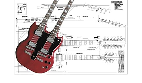 amazon.com: plan of gibson eds double-neck electric guitar - full scale  print: musical instruments  amazon.com