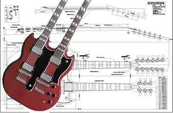 Plan de Gibson EDS double-neck guitarra eléctrica - escala completa impresión: Amazon.es: Instrumentos musicales