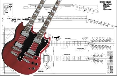 (Plan of Gibson EDS Double-neck Electric Guitar - Full Scale Print)