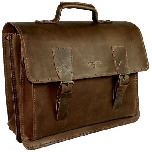 DELARA spacieux serviette en cuir de selle; bandoulière, épaulette et DELARA soins du cuir inclus - Fabriqué en Allemagne