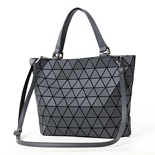 Casual Handbag Bag Matte Blue Matte Folding Bags Laser Shoulder Blue Plaid Women Diamond Bucket Mirror Tote Matte Saser Sequins Luminous Bag Geometry U7fqxwt6