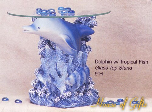 "Dolphin w/ Tropical Fish Glass Top Stand 9""h"