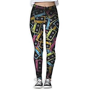 HJUCXSRT New Tape Printing Design Compression Leggings Pants Tights For Women S-XL