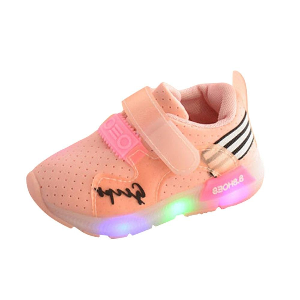 Longra For 1-6 Years Old Light Up Luminous Sneakers Anti-Skid Baby Girls Boys Toddler Shoes Toddler Kids Soft Casual Girls Sports Shoes LED Light Shoes