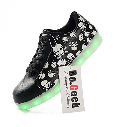 DoGeek Led Light Up Shoes Skull Light Up Sneakers For Womens Trainers 7 Colors (9.5 B(M) US, Black)