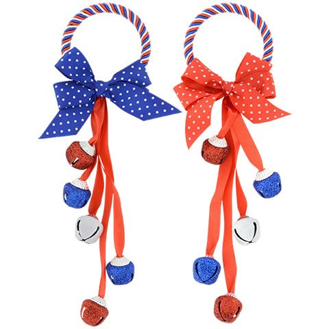 Glittery Patriotic Red, White & Blue Door Knob Hanger, 2 Pack (Red and Blue Bow)