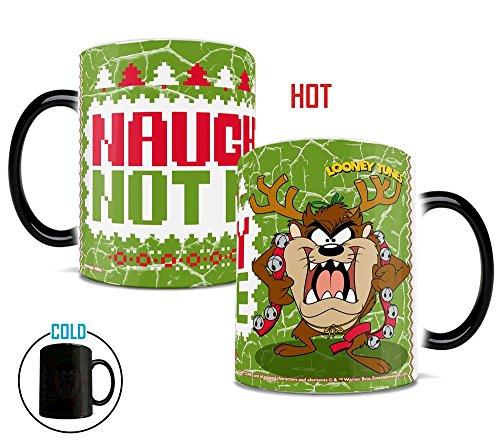 Morphing Mugs Looney Tunes Taz Naughty Not Nice Christmas Heat Reveal Ceramic Coffee Mug - 11 Ounces]()