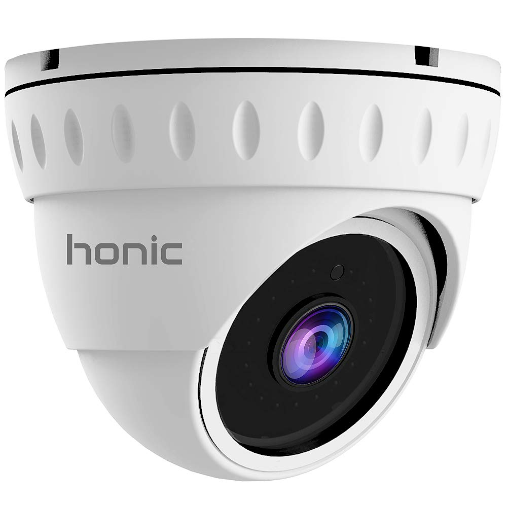 2MP Wide Angle (AHD TVI CVI 960H) Indoor Outdoor Dome CCTV Camera, Honic 1080P Day Night Vision Security IR Analog Camera, Waterproof Full HD Eyeball Cam for Home Video Surveillance (Metal, White)