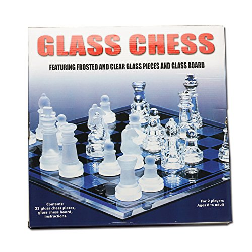 Faironly Exquisito juego de ajedrez de cristal esmerilado juguete festival regalo de cumpleaños mediano 25 x 25 cm