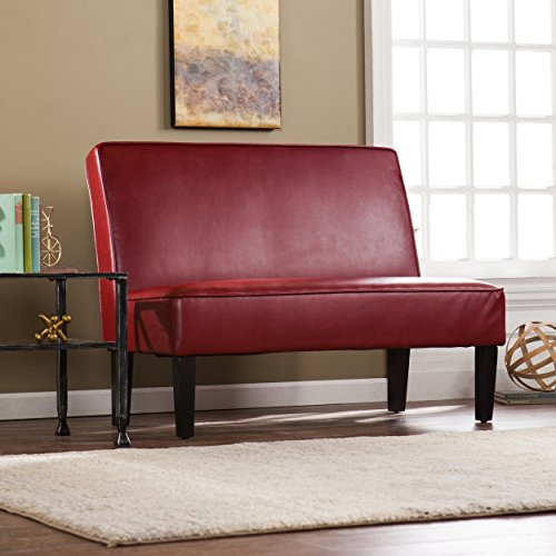 Southern Enterprises AMZ3083PU Brooking Faux Leather Settee Bench, Roman Red