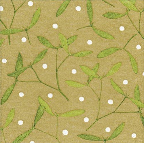 Entertaining with Caspari Mistletoe Paper Linen Dinner Napkins (12 Pack), Gold by Entertaining with Caspari