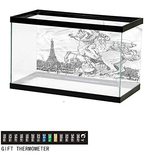 bybyhome Fish Tank Backdrop Antique,France Sculpture,Aquarium Background,48