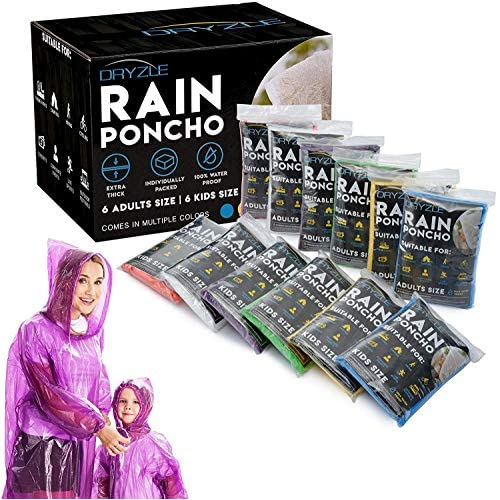 Lingito Rain Ponchos Family Pack Child or Adult Emergency Raincoat Drawstring Hood Poncho for Children and Adults Lightweight Reusable or Disposable
