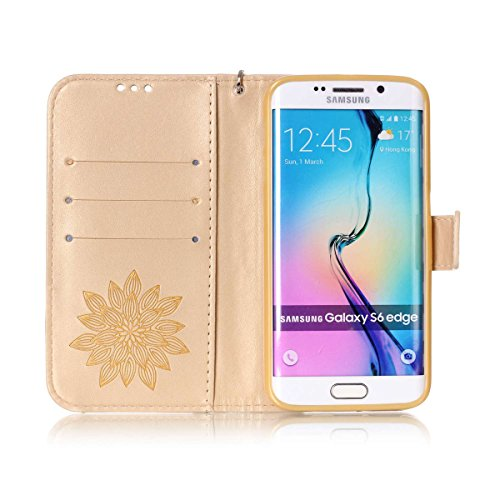 Funda Galaxy S6 Edge, Carcasa Plegable para Galaxy S6 Edge, Funda de piel Galaxy S6 Edge, Lifetrut Sólido Shiny Sparkle libro de estilo funda de cuero con ranura para tarjetas de cierre magnético sopo E205-Flor en amarillo
