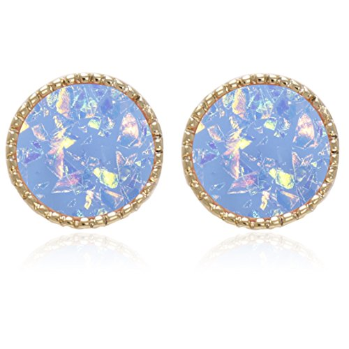 Iridescent glitter Opal Circle, Star, Four Leaf Clover, Heart Shape with Titanium Post Stud Earrings