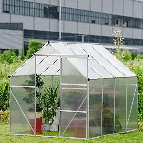Giantex Walk-in Greenhouse Plant Growing Tent Large Green Garden Hot House with Adjustable Roof Vent, Rain Gutters Heavy Duty Polycarbonate Aluminum Frame (6.2'L x 8.2'D) by Giantex (Image #2)