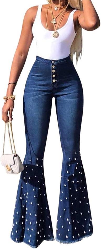 Ai Moichien Pantalones Vaqueros Acampanados De Campana De Cristal De Mezclilla Para Mujer Pantalones Pitillo De Talle Alto Pantalones Modernos Elasticos Con Elevacion De Gluteos Amazon Es Ropa Y Accesorios