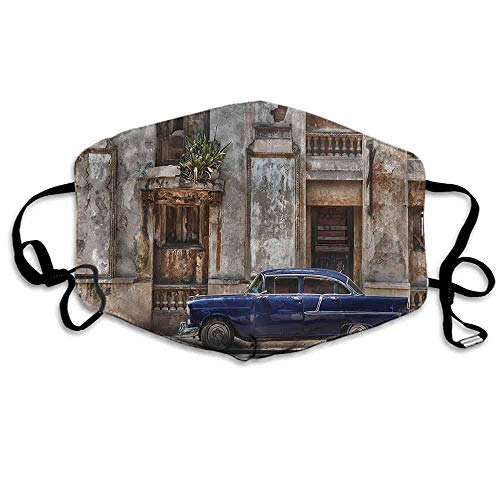 Vintage Dust Mouth Mask Old Car Havana Cuba Urban for Men and Women W4