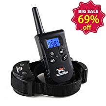 Dog Training Collar - Rechargeable & Waterproof Remote Dog Bark Collar With 100Levels of Vibration/Shock - Adjustable Nylon Collar Belt For ALL Sizes of Dog (Black Only) (PD-520)
